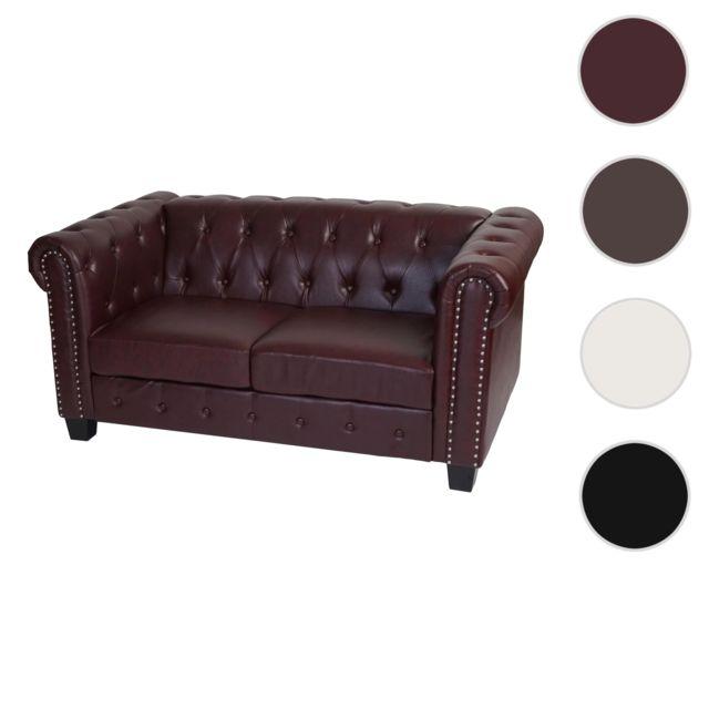 Mendler Canapé à 2 places Chesterfield, canapé longue, similicuir ~ pieds angulaires, brun rouge