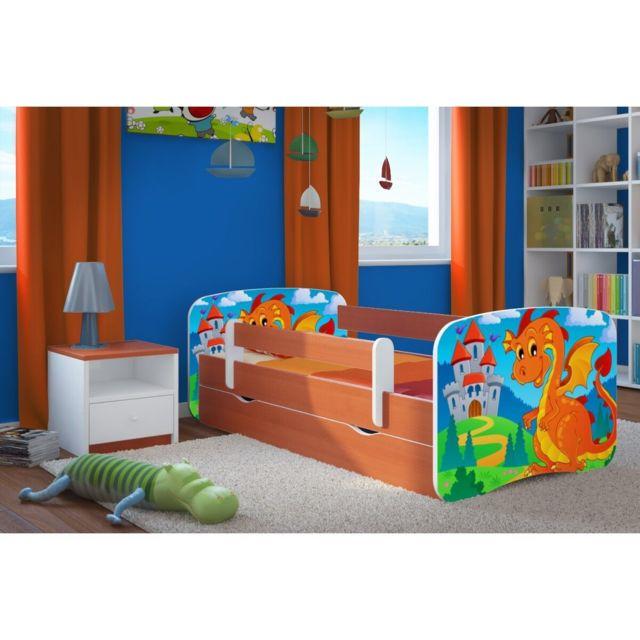 carellia lit enfant dragon et ch teau 80 cm x 160 cm avec barriere de securite sommier. Black Bedroom Furniture Sets. Home Design Ideas