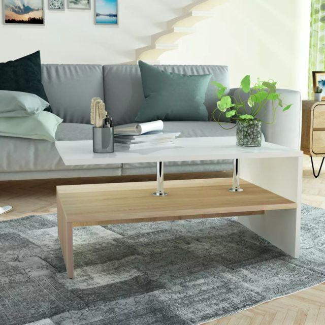 Vidaxl Table Basse en Aggloméré 90x59x42 cm Chêne et Blanc Table de Thé Salon