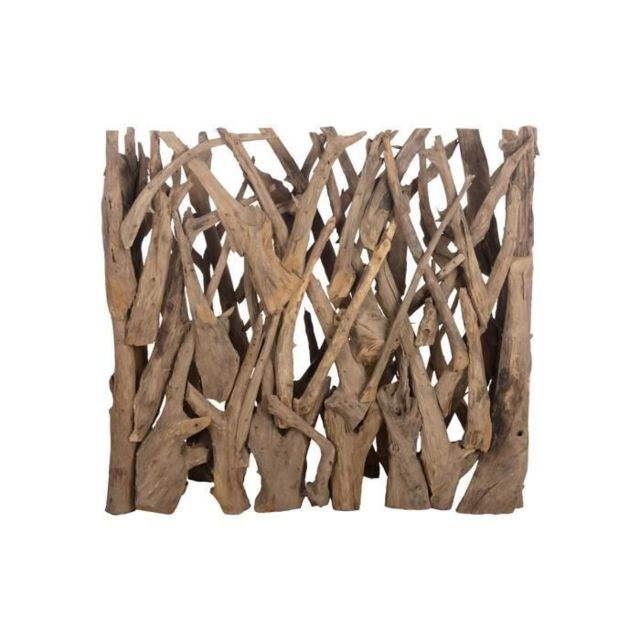 HAIE DE JARDIN Brise vue en teck véritable- 118 x 28 x 110 cm - Marron naturel