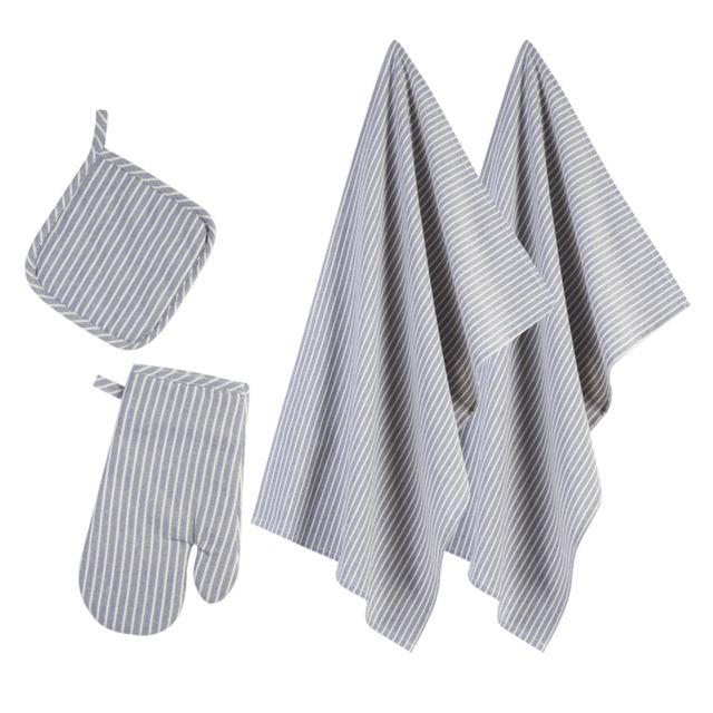 Atmosphera - Lot de 2 torchons de cuisine avec un gant et une manique coloris bleu rayé blanc 100% coton