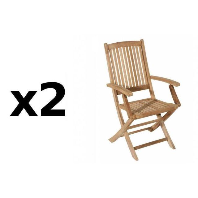 Inside 75 Lot de 2 fauteuils de jardin Lombock en teck