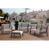 Salon de jardin Miali en Pvc : 2 fauteuils, un canapé 2 places, une table basse - structure anthracite assise beige