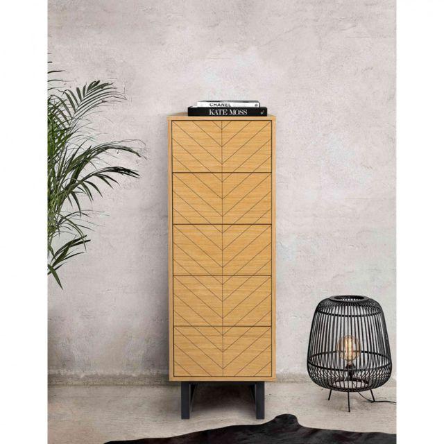 TERRE DE NUIT Commode étroite 5 tiroirs en bois imitation chêne - CF0025
