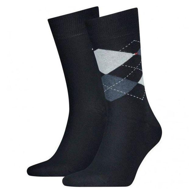 6 paire tommy Hilfiger chaussettes chaussettes 43-46 check bleu foncé