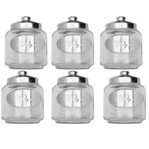 touslescadeaux 6 bocaux de conservation en verre pots avec couvercles m tal pas cher achat. Black Bedroom Furniture Sets. Home Design Ideas