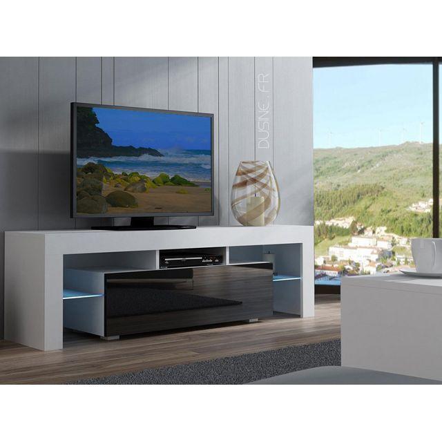 Dusine Meuble Tv Spider à Led en Blanc Mat avec porte Noir Laqué 160 cm