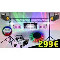 Ibiza Light - Pack Light Led Soiree Dj Avec 6 Jeux De LumiÈRE + 1 Machine A Fumee