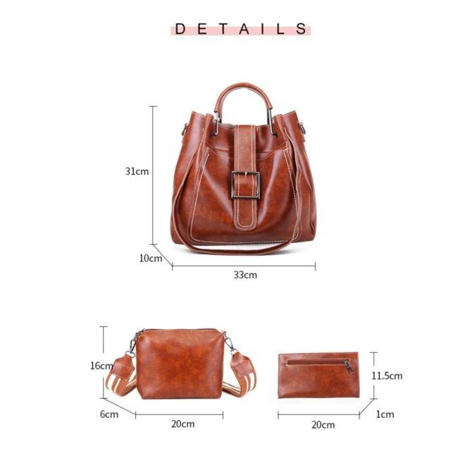 Sac porté épaule 3 en 1 boucle de ceinture cuir Pu à bandoulière pour femme à main Messenger Bag Gris