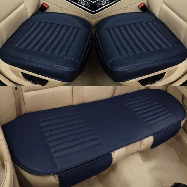 Wewoo Housse de selle pour coussin de couverture totale 3 en 1 de voiturequatre saisonscharbon de bambou universel bleu foncé
