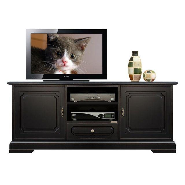 Arteferretto Banc Tv noir en bois avec 2 portes