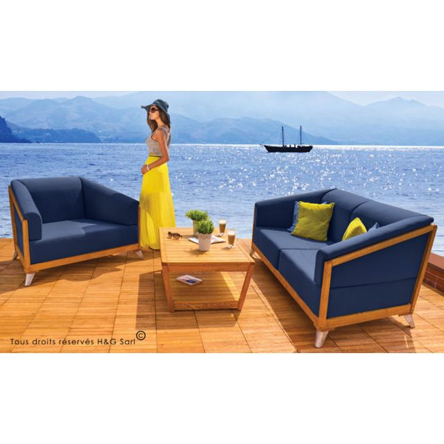 House and Garden - Salon De Jardin 3 Ou 4 Places Verone Bleu Sans ...