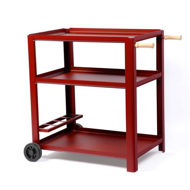le marquier desserte pour plancha en acier sur roulettes 3 plateaux begonia rouge grande. Black Bedroom Furniture Sets. Home Design Ideas
