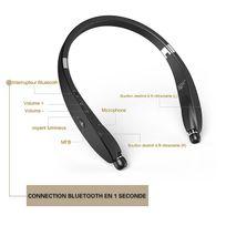 Alpexe - Casque Ecouteur Sport Bluetooth 4.1 Tour de Cou Design avec Oreillettes rétractables sans fil Audio Stéréo pour Iphone, Android, Tablets,d'autres appareils Bluetooth Noir