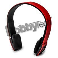 Hobby Tech - Casque stéréo Bluetooth qualité Hifi couleur rouge + micro intégré