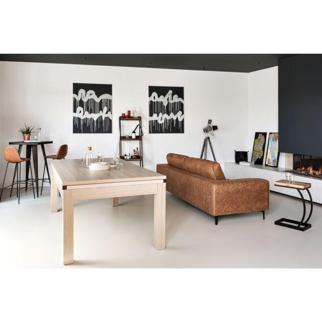 Rendez Vous Deco Table de Billard convertible bois foncé tapis gris