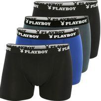Playboy - Lot de 4 Boxers Homme Coton Pack Classic Eco Noir Gris bleu noir