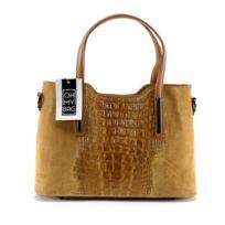 Oh My Bag - Sac à Main cuir Nubuck et effet croco - Modèle Assop camel