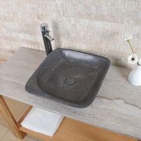 Capri - Vasque carrée Moya - Calcaire gris foncé