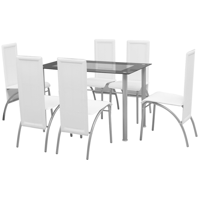 Vidaxl Ensemble à dîner sept pièces Blanc