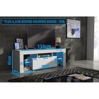 Mpc - Meuble tv 130 cm corps noir mat et porte laquée avec led