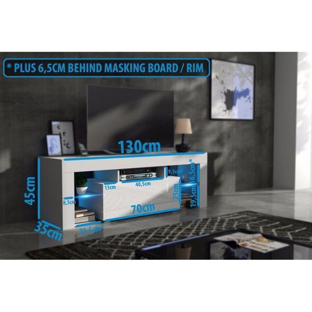 Mpc Meuble tv 130 cm corps noir mat et porte laquée blanc avec led