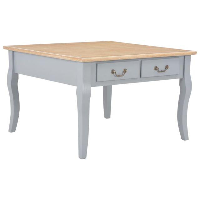 Vidaxl Table Basse Bois Mdf Gris Table d'Appoint Tiroirs Canapé Salon Maison