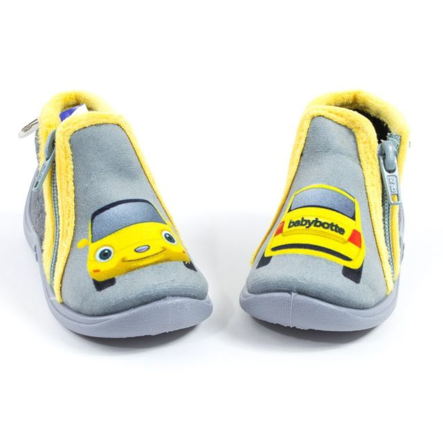 10221555c96a1 Babybotte - Chaussons bébé garçon à fermeture Majik gris motif voiture - pas  cher Achat   Vente Chaussures