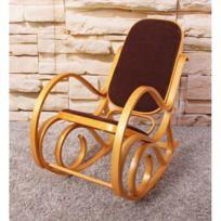 Decoshop26 - Fauteuil à bascule rocking chair en bois clair assise en tissu marron Fab04006