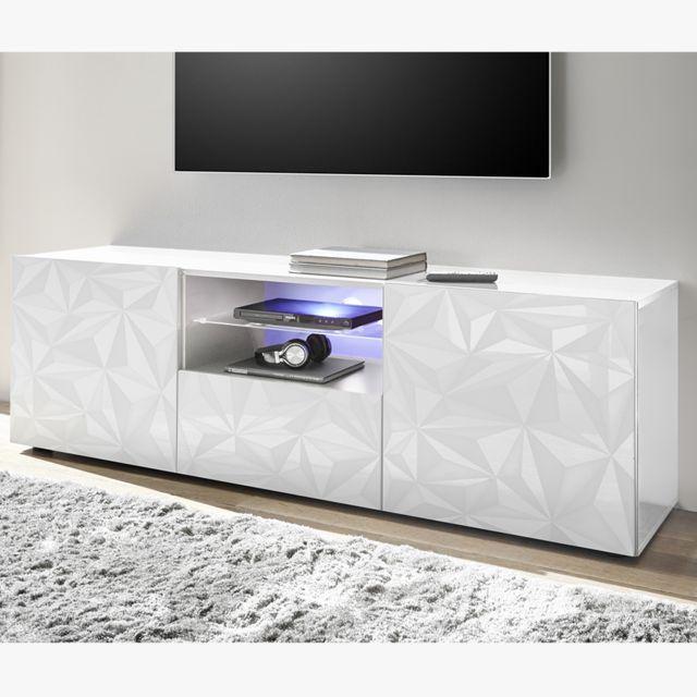 Kasalinea Grand meuble télé design blanc laqué sans éclairage Nino
