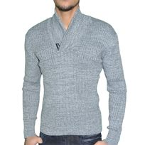 Stef Wear - Pull - Homme - Col Echarpe Bouton - 708 - Gris 2 Moyen