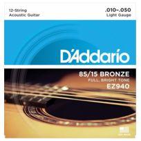 D'ADDARIO - Light Ez940 - Jeu de Cordes guitare acoustique 12 cordes
