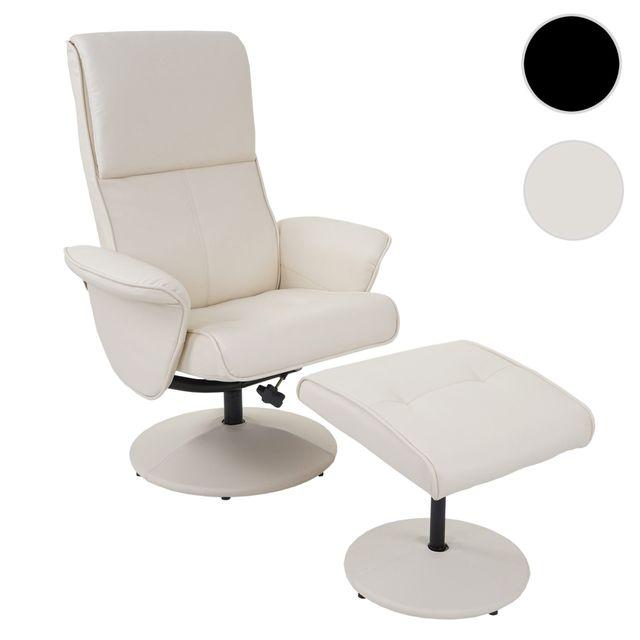 Mendler Fauteuil relax Helsinki, fauteuil de télévision avec tabouret ~ similicuir, crème