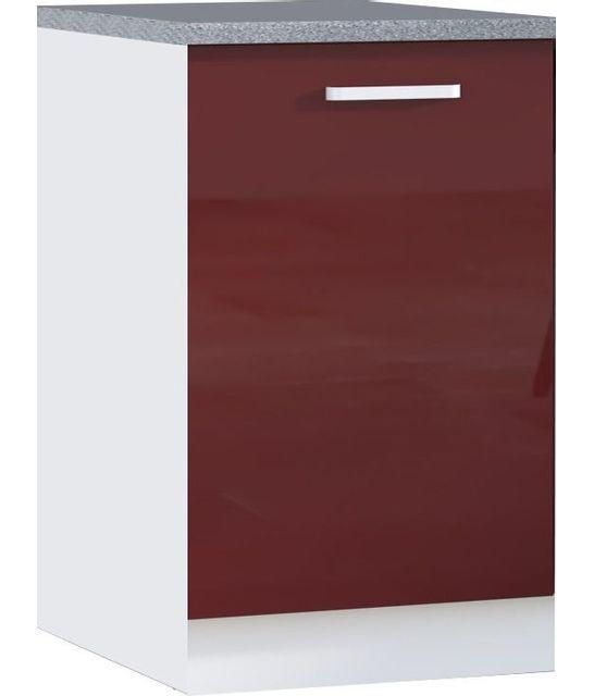 Comforium Meuble bas de cuisine design 60 cm avec 1 porte coloris blanc mat et rouge laqué