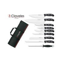 3CLAVELES - Malette de 9 couteaux Domvs pour cuisiniers + fusil 3 Claveles