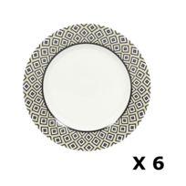 bff2752215c125 Novastyl - 6 Assiettes à dessert en porcelaine Kumasi - Diam. 20 cm - Blanc