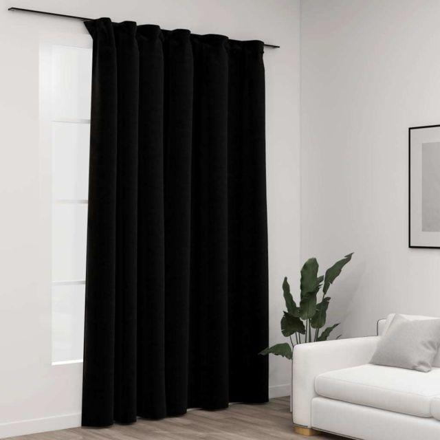 Vidaxl Rideau occultant d'aspect de lin avec crochets Noir 290x245 cm