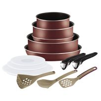 TEFAL - INGENIO ESSENTIAL - Set 12 pièces - Rouge velours - L2099002
