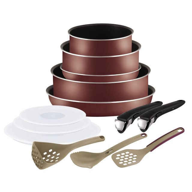 TEFAL INGENIO ESSENTIAL - Set 12 pièces - Rouge velours - L2099002