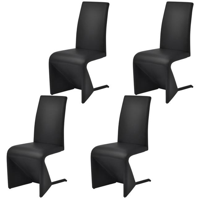 Vidaxl Chaises de salle à manger cantilever 4 pcs Cuir artificiel Noir