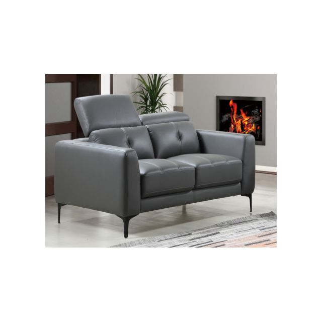 Canapé 2 places en cuir JASPER - Anthracite