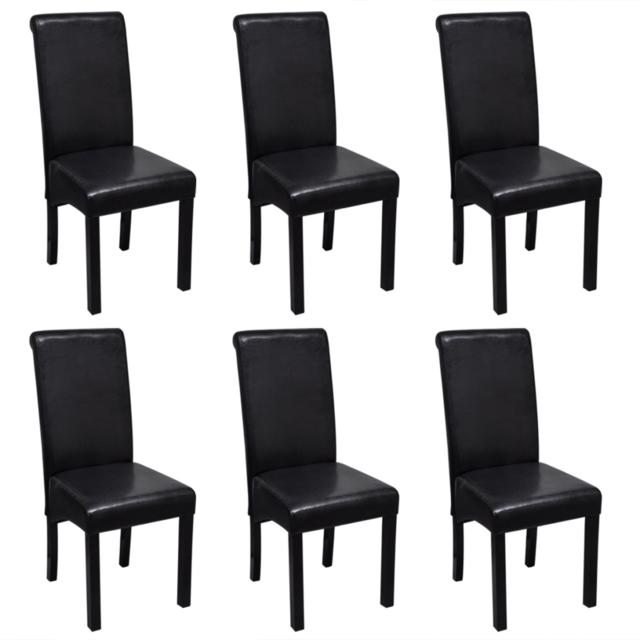 Vidaxl Set de 6 chaises salle à manger noires en cuir artificiel