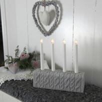 Xmas Living Glass - Knitted - Chandelier Mailles Gris 4 bougies à ampoules - Lampe à poser designé par