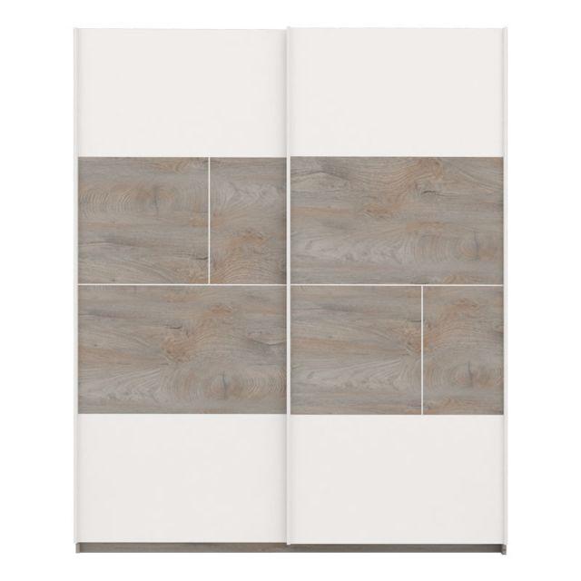 Tousmesmeubles Armoire 2 portes coulissantes Chêne délavé/Blanc mat - Florine