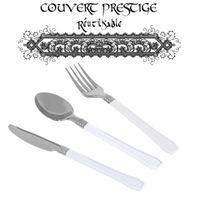 Vaisselle-jetable - Menagere 60pcs prestige jetables plastique blanc