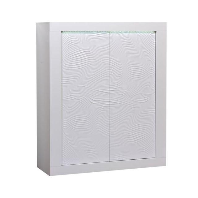 Tousmesmeubles Vaisselier 2 portes Laqué Blanc à Leds - Marks