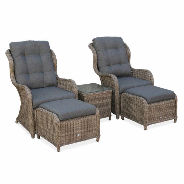 ALICE'S GARDEN Lot de 2 fauteuils en résine tressée arrondie et aluminium - Barletta Naturel - Aspect rotin, coussins anthracite