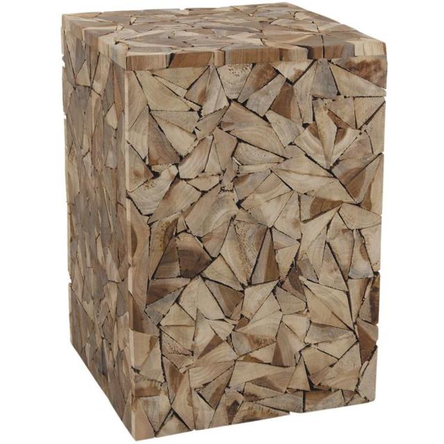 AUBRY GASPARD - Tabouret cube bois Scuplture Multicolore
