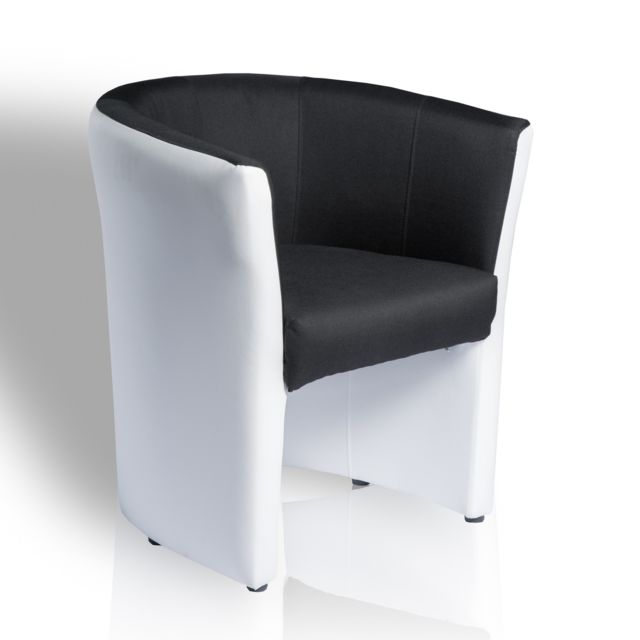 topdeco fauteuil omer de type cabriolet noir et blanc. Black Bedroom Furniture Sets. Home Design Ideas