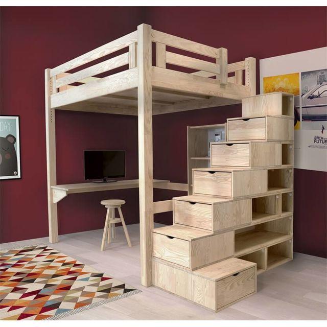 Abc Meubles Lit Mezzanine Alpage Bois Escalier Cube Hauteur